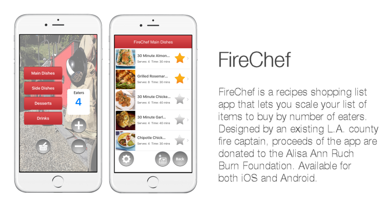firechef is a simple recipe shopping list app that scales the ingredients you need for your meals by the number of eaters you specify